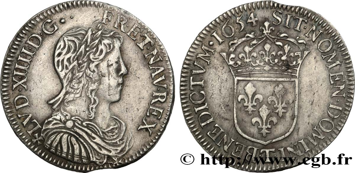 LOUIS XIV  THE SUN KING  Demi-écu à la mèche longue 1654 Nantes XF