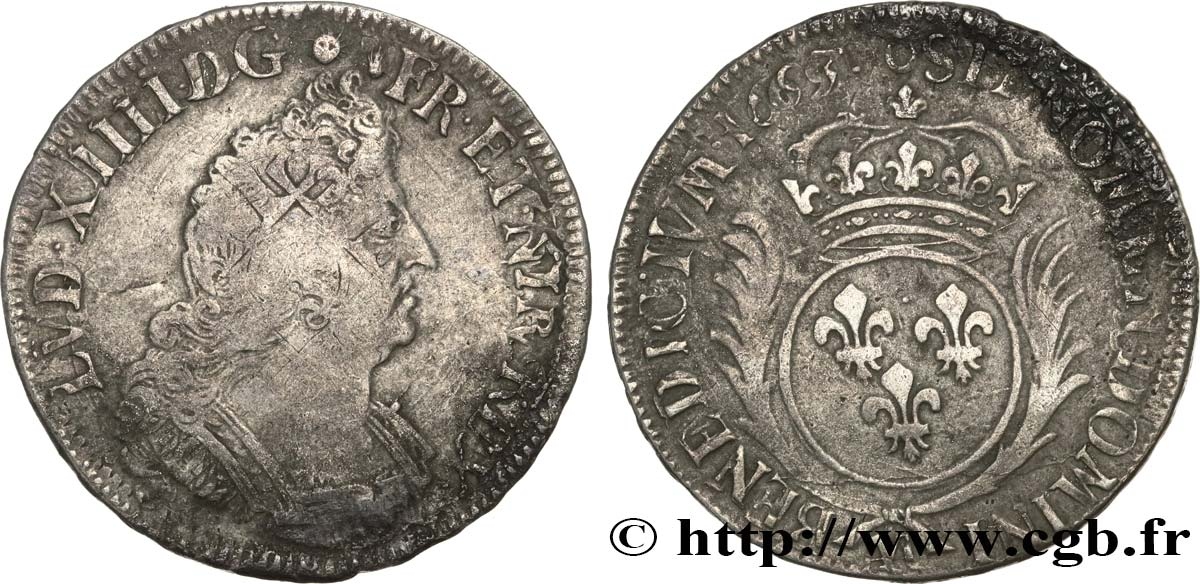 LOUIS XIV  THE SUN KING  Demi-écu aux palmes 1693 Metz VF