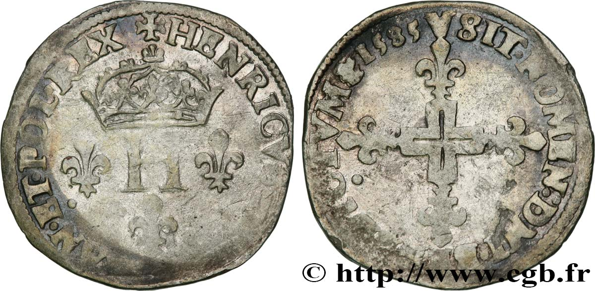 HENRY III Double sol parisis, 2e type 1585 Paris VF