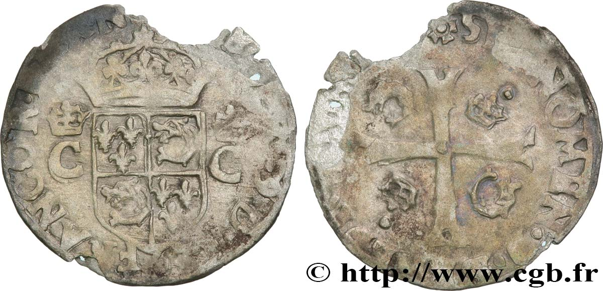 HENRY III. COINAGE IN THE NAME OF CHARLES IX Douzain du Dauphiné aux deux C couronnés n.d. Grenoble F