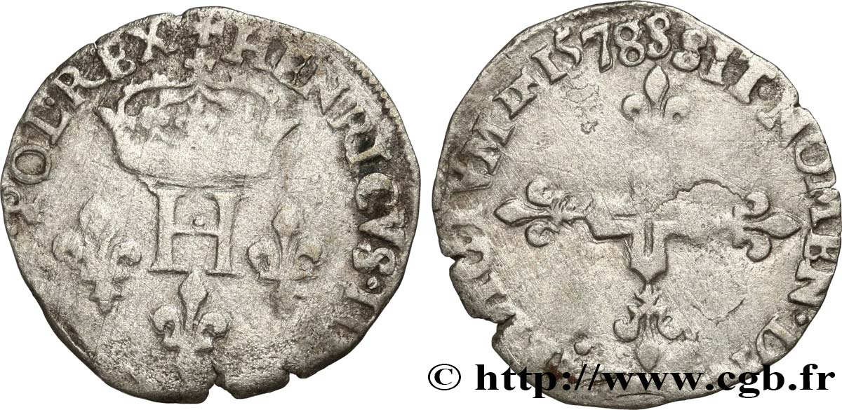 HENRY III Sol parisis 1578 Troyes VF
