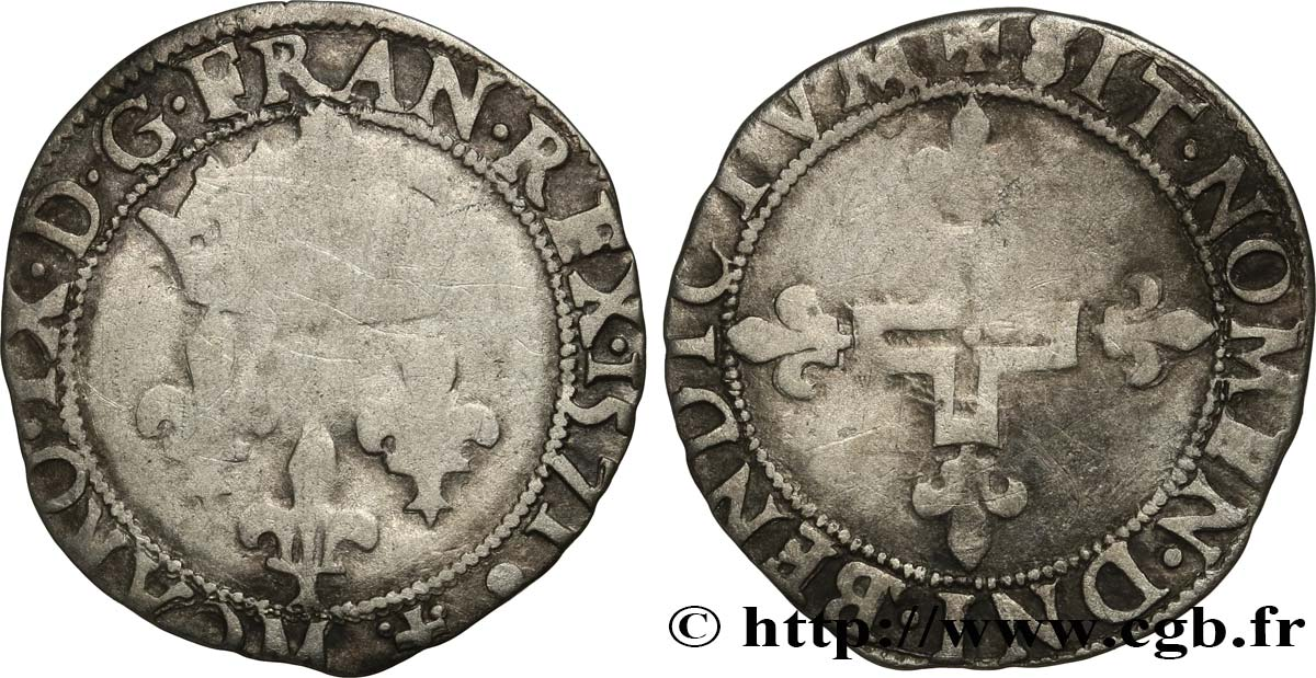 CHARLES IX Double sol parisis, 1er type 1571 Toulouse VF