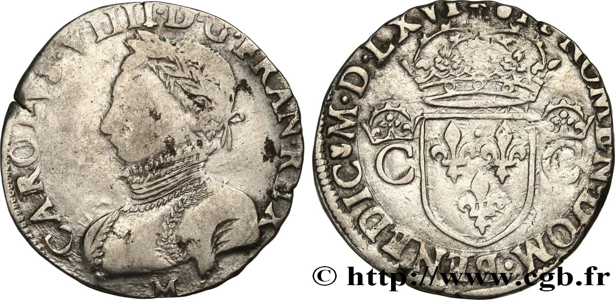 CHARLES IX Teston, 2e type 1566 Toulouse q.BB