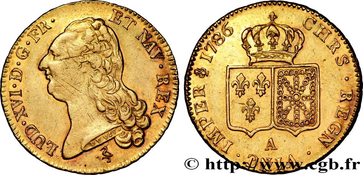 LOUIS XVI Double louis d or dit  aux écus accolés  1786 Paris AU