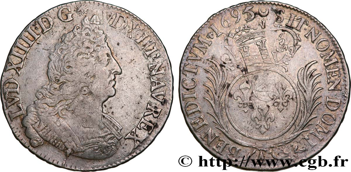 LOUIS XIV  THE SUN KING  Demi-écu aux palmes 1695 Paris VF