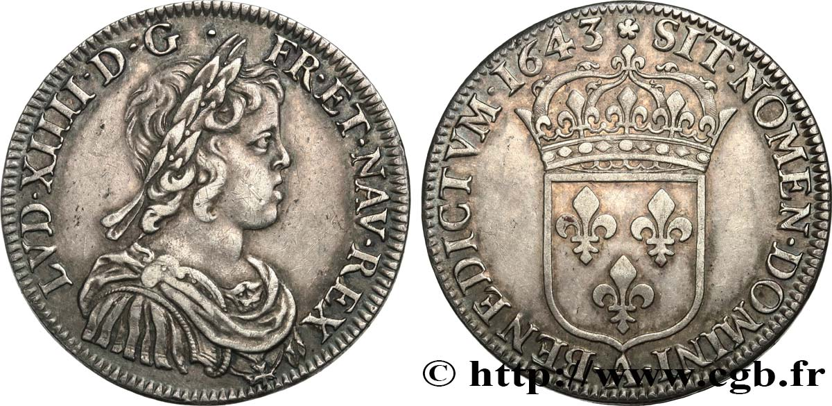 LOUIS XIV  THE SUN KING  Demi-écu à la mèche courte 1643 Paris, Monnaie de Matignon AU/AU