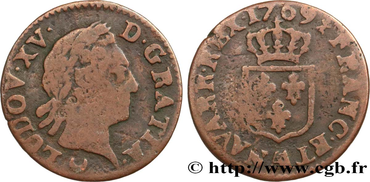 "LOUIS XV  THE WELL-BELOVED  Liard dit ""à la vieille tête"" 1769 Metz VF"