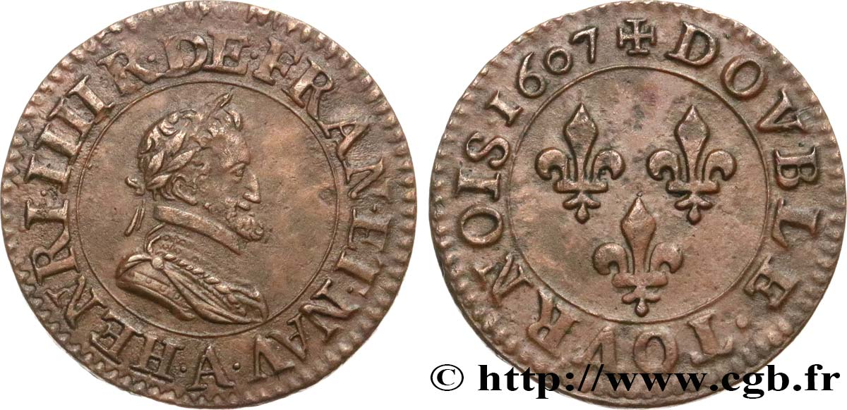 HENRI IV LE GRAND Double tournois, 2e type de Paris (légende française) 1607 Paris, Moulin des Étuves TTB+