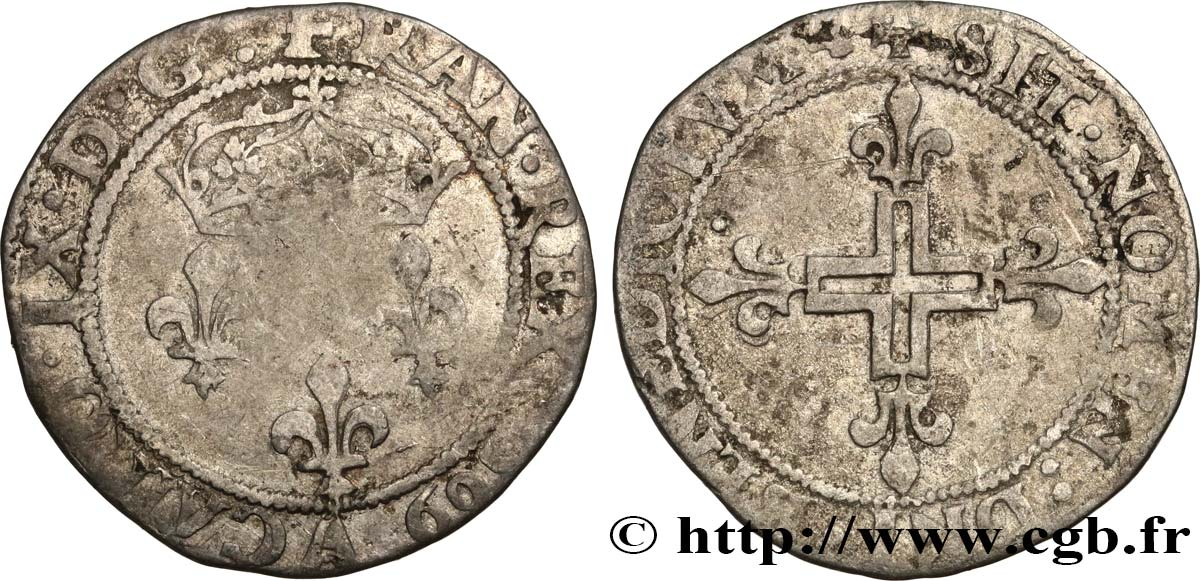 CHARLES IX Double sol parisis, 1er type 1569 Paris TB