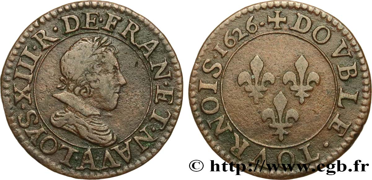 LOUIS XIII LE JUSTE Double tournois, 3e type 1626 Paris TTB