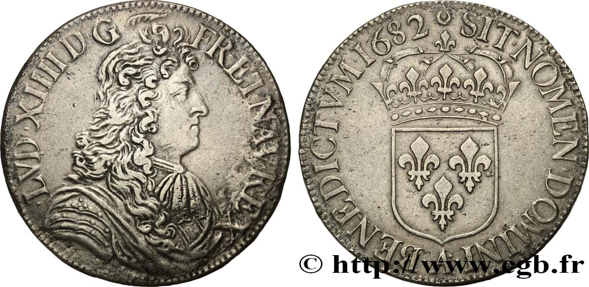 LOUIS XIV LE GRAND OU LE ROI SOLEIL Écu à la cravate, 1er type 1682 Paris TTB/TTB+