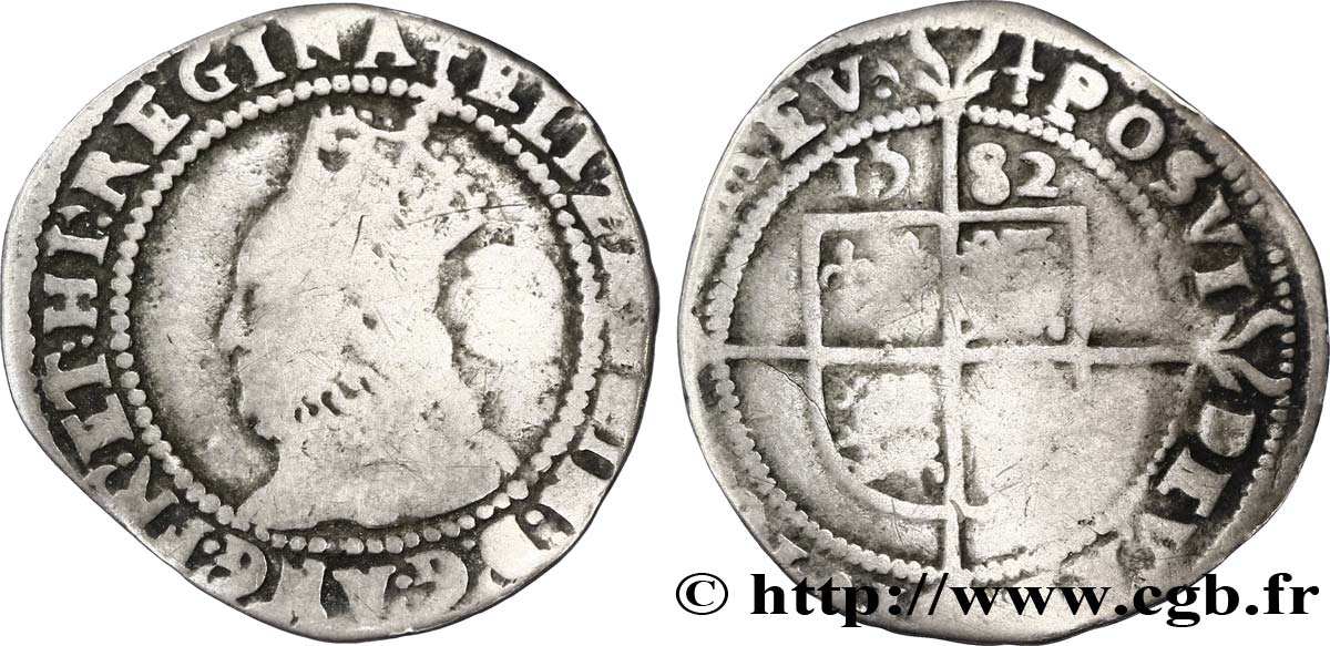 ANGLETERRE - ROYAUME D ANGLETERRE - ÉLISABETH Ire Three pence (5e émission) 1582 Londres TB