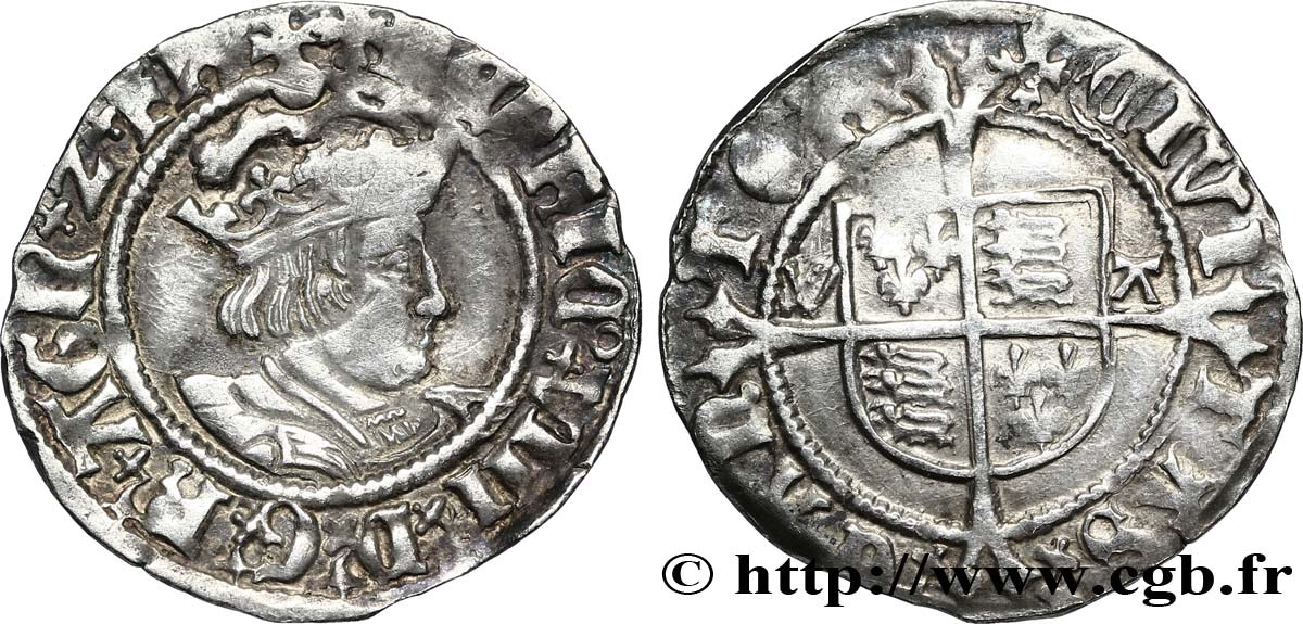 ANGLETERRE - ROYAUME D ANGLETERRE - HENRY VIII Halfgroat n.d. Canterbury TB+