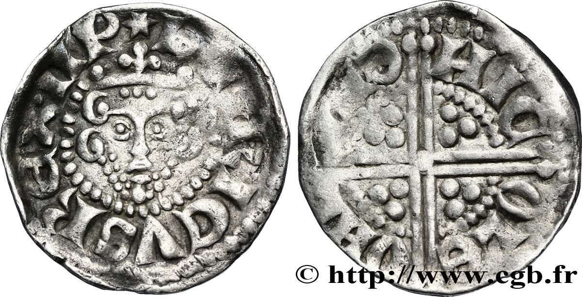 "ANGLETERRE - ROYAUME D ANGLETERRE - HENRY III PLANTAGENÊT Penny dit ""long cross"", classe 3a n.d. Londres TB+"
