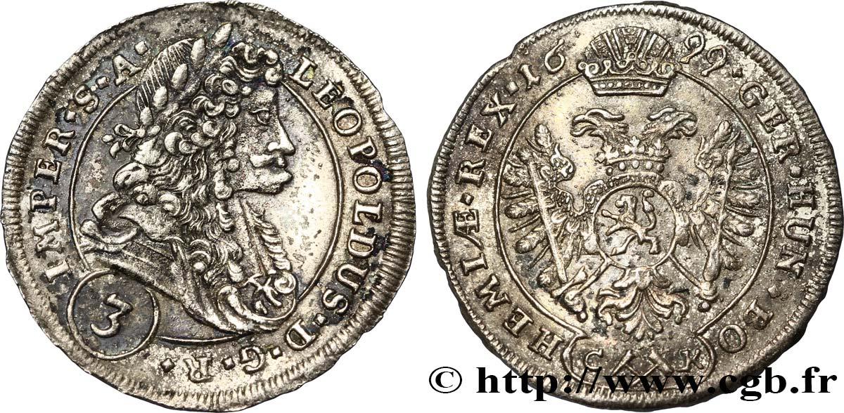 90c597dc4 AUSTRIA - BOHEMIA - LEOPOLD I 3 Kreuzer 1699 Kutna Hora fre_328520 ...